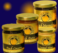 select 4 bottles or jars of Golden Orchard preserves, honeys and other products