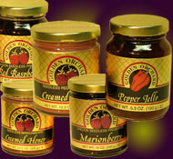 select 5 bottles or jars of Golden Orchard preserves, honeys and other products